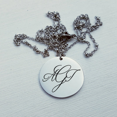 Laser Engraved Personalized Necklace, Wedding Jewelry, Mother of the Bride or Groom Gift, Monogram, For Bridesmaid, LXJC100086
