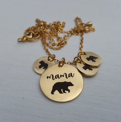 Laser Engraved Tiny Round Bear Cub Add-on, Baby Bear, Mama Bear, Dainty Necklace, Gold, Rose Gold, Silver, engraved, Mother Child