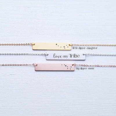 Engraved Family Bar Necklace, Mother Daughter Jewelry, Big Dipper, Little Dipper, Gifts for Mom, Gift for Daughter, SEGC10006