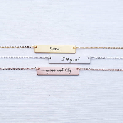 Name Necklace, Rose Gold, Sterling Silver, Initials, Personalized Jewelry, Girlfriend Gift, For Wife, For Mother, For Child, SEGC10007