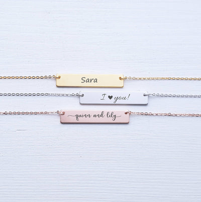 Engraved Personalized Bar Necklace, Custom Name, Wife Gift for Mom, Rose Gold, Sterling Silver, Best Friend Gift, SEGC10008
