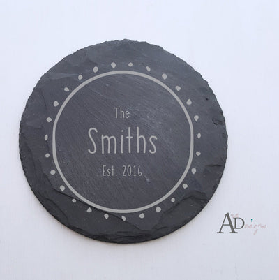 Laser Engraved Personalized Slate Coasters,  Personalized Coaster, Custom Wedding Gift, Housewarming Gifts, For Couple, FAM10014