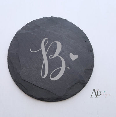 Laser Engraved Personalized Slate Coasters,  Personalized Coaster, Custom Wedding Gift, Housewarming Gifts, For Couple, FAM10019
