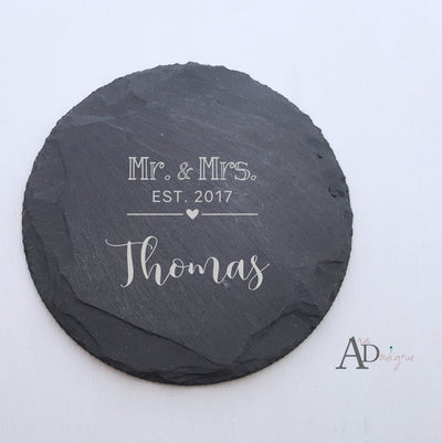 Laser Engraved Personalized Slate Coasters,  Personalized Coaster, Custom Wedding Gift, Housewarming Gifts, For Couple, Mr, Mrs, FAM10023