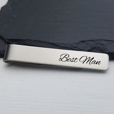 Laser Engraved Men's Tie Bar, Personalized Gifts, Custom Clip, For Him, Wedding Keepsake, For Best Man, LGC10012
