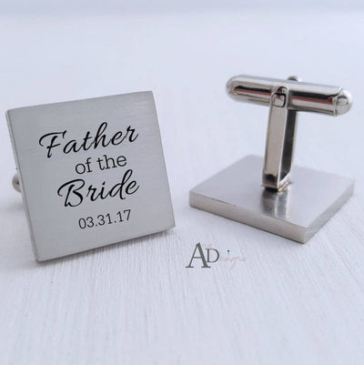Laser Engraved Custom Cufflinks, Your Message , Square Cuff link, Gift for Him, Father of the Bride, Wedding Keepsake, LGC10047
