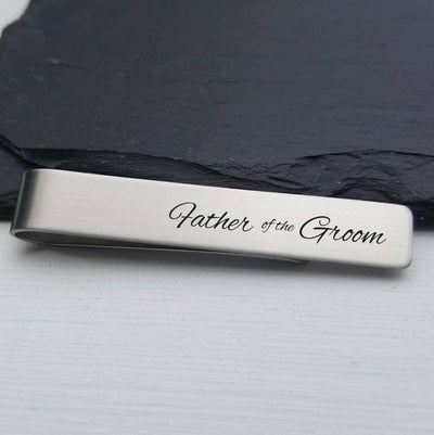 Laser Engraved Mens Tie Bar, Personalized Gifts, Father of the Groom Gift, Custom Clip, For Him, Wedding Keepsake, For Dad, LGC10089