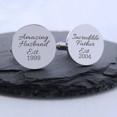 Laser Engraved Personalized Cufflinks , Gift for Dad, Father's Day, Round Cuff link, Anniversary Keepsake, LGC10096