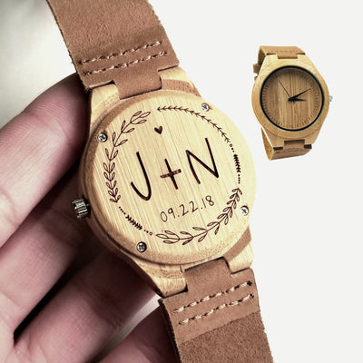 Laser Engraved Wood Watch, Best Wedding Gift for Groom from Bride, Personalized Mens Gift, Custom Initials, TBC10040