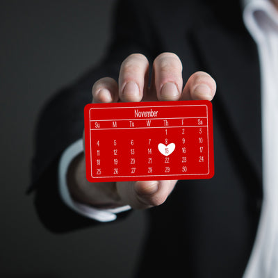 Special Gift for Groom from Bride Wedding Date Anniversary Calendar Personalized Wallet Card Metal Wallet Insert Gift for Men Red Gift