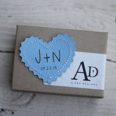 Custom Heart Iron-On Patch, Engraved, Personalized Initials, Dress Patch, Something BLUE, Wedding Tradition, LGC10346