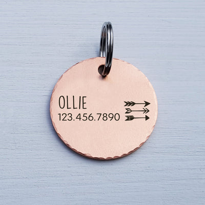 Engraved Round Dog Tag, Custom Pet ID Tag, Whimsical Gift, Personalized Cat Tag, Double Sided, Fun, Cute Collar Tag, Rose Gold, LPTC10019
