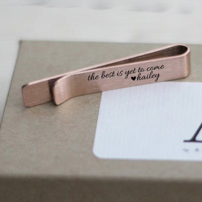 Mens Tie Bar, Personalized Gifts, Custom Clip, For Him, Wedding Keepsake, 18K Plated Rose Gold, the best is yet to come, LGC10417