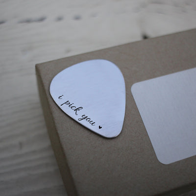 "Laser Engraved Personalized Guitar Pick, ""I pick you"", Gift for Groom from Bride, For Husband, LGC10429"