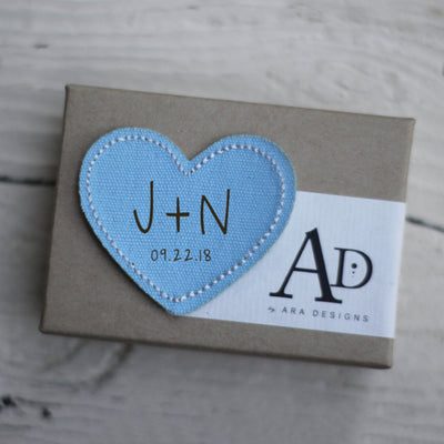 Custom Heart Iron-On Patch, Engraved, Personalized Initials, Dress Patch, Something BLUE, Wedding Tradition, LGC10451