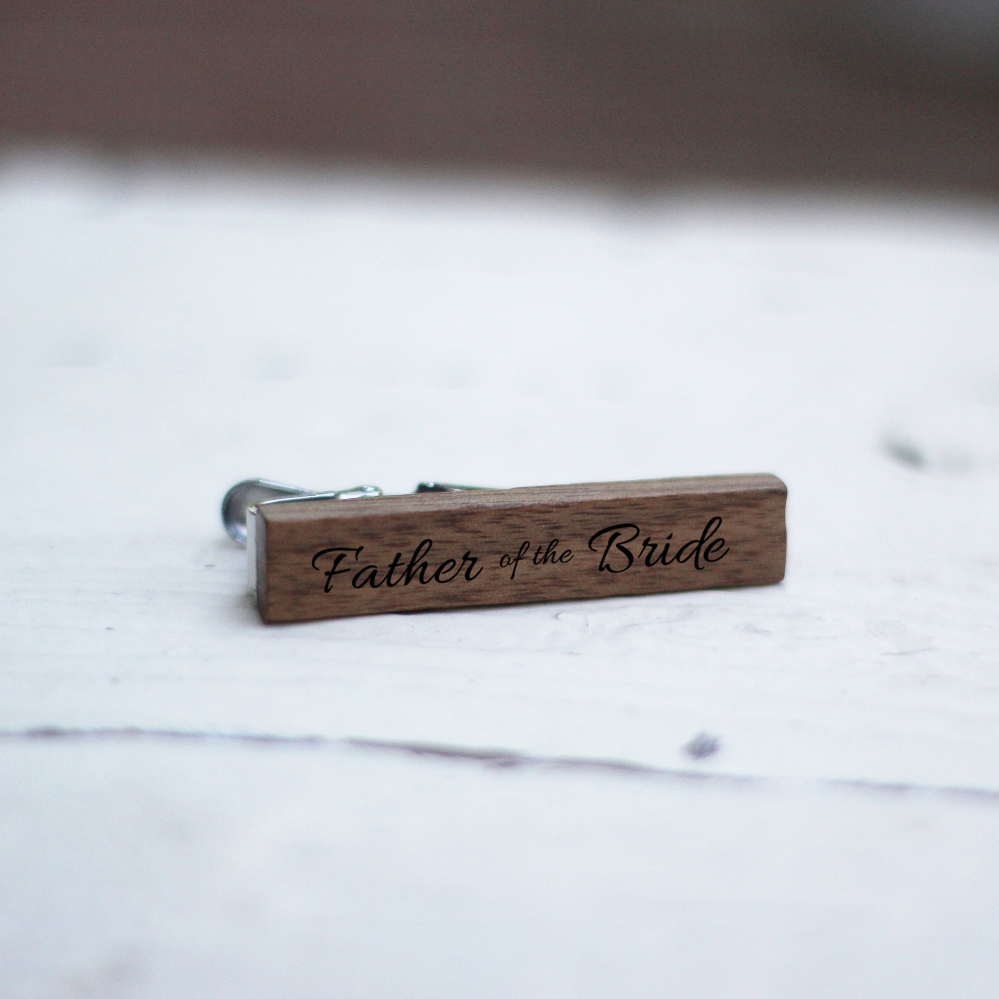 22246894a8e8 Laser Engraved Personalized Tie Bar, Wedding Keepsake, Custom Clip, Wood,  Gift for