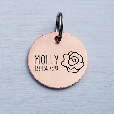 Round Dog Tag, Custom Pet ID Tag, Whimsical Gift, Personalized Cat Tag, Double Sided, Fun, Cute Collar Tag, Rose Gold, Floral, LPTC10131