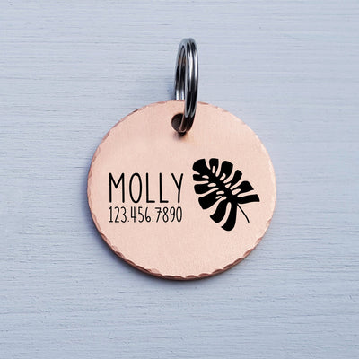 Round Dog Tag, Custom Pet ID Tag, Whimsical Gift, Personalized Cat Tag, Double Sided, Fun, Cute Collar Tag, Rose Gold, Leaf, LPTC10145