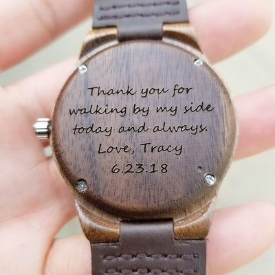 Laser Engraved Personalized Walnut Watch, Eco-friendly Gifts,  Leather Band, For Men, Gift for Him, FOTB Wedding Keepsake, TBC10050