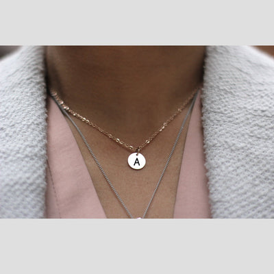 Laser Engraved Tiny Pendant Necklace, Choker, Your Initials, Dainty Personalized Jewelry, Little Gift for Girl, LXJC100205
