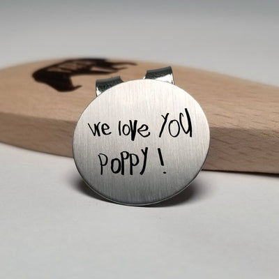 Laser Engraved Golf Ball Marker, Custom Message, Actual Handwriting, Magnetic Clip, Personalized, Golfer Gift, LGC10051