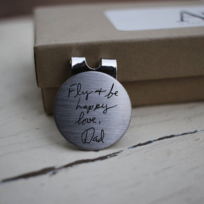 Laser Engraved Golf Ball Marker, Custom Message, Actual Handwriting, Magnetic Clip, Personalized, Golfer Gift, LGC10423
