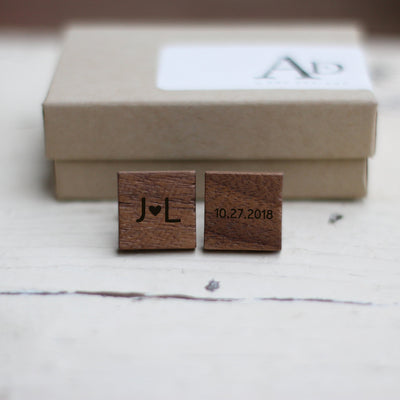 Personalized Cufflinks, Wood, Wedding Date, Custom Initials, Cuff links, Gifts for Men, Engraved, Gift for Him, TBC10052