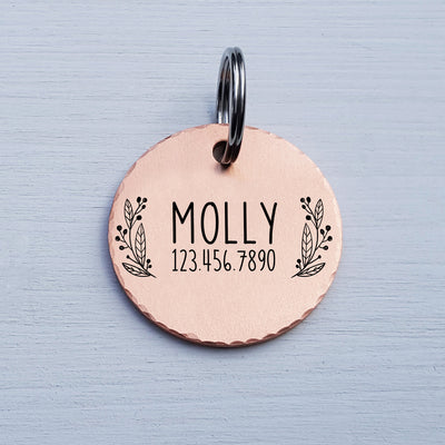 Round Dog Tag, Custom Pet ID Tag, Whimsical Gift, Personalized Cat Tag, Double Sided, Cute Collar Tag, Rose Gold, Garland, LPTC10128