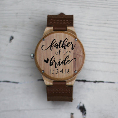 Laser Engraved Wooden Watch, Eco-friendly Gifts, For Father of the Bride, For Men, For Dad, Gift for Him, Wedding Keepsake, TBC10059