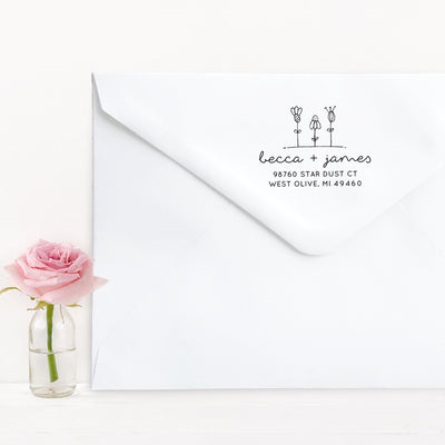 Return Address Stamp, Personalized Gift, Wedding Invitation, Pre Inked, Self Inking, RSVP Label, Couple Gifts, IGC10015