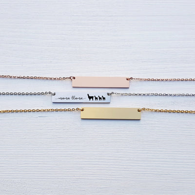 Laser Engraved Custom Name, Mama Llama Bar Necklace, Unique Gift for Mom, Personalized Rose Gold or Silver Jewelry, for Her, LXJC100223