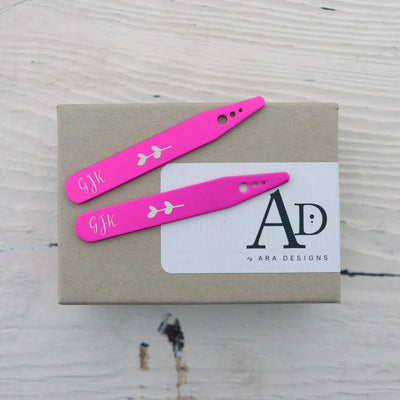 Laser Engraved Hot Pink Collar Stays, Custom Gift, Personalized for Groom, Anniversary Gift for Husband or Boyfriend,  LGC10507