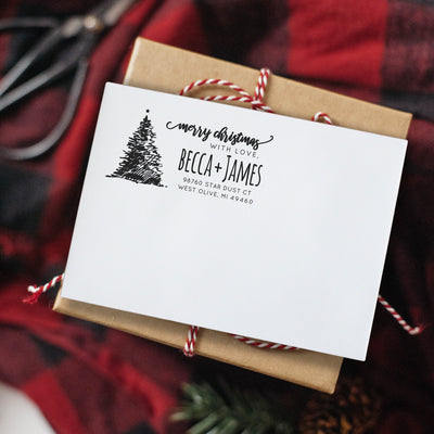Modern Christmas Return Address Stamp, Merry Christmas Card, Cute Hand-drawn Tree, Pre Inked, For New Home Owner, NOT Self Inking, IGC10018