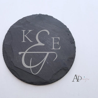 Laser Engraved Personalized Slate Coasters,  Personalized Coaster, Custom Wedding Gift, Housewarming Gifts, For Couple, FAM10018