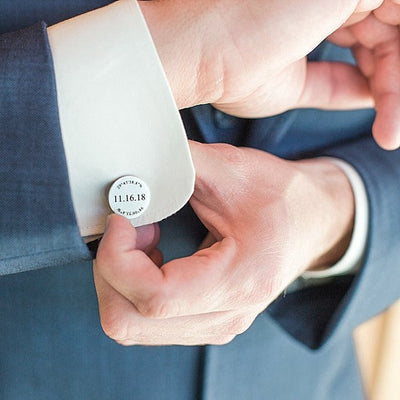 Laser Engraved Personalized Wedding Cufflinks, Round Cuff links, Custom Name Gift for Groom From Bride LGC10356