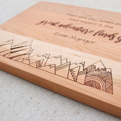 Laser Engraved Personalized Cutting Board,  Inspirational Quote, Wedding Gift, Great Adventure, LGC10475