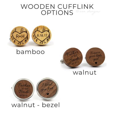 Laser Engraved Personalized Cufflinks, Wood, Wedding Date, Custom Cuff links, Gift for Men, Father of the Bride, Bamboo, TBC10039