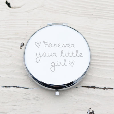 Laser Engraved Personalized Pocket Mirror, Silver Metal Compact, Magnified, Mother of the Bride, Mother of the Groom Gift, LGC10154