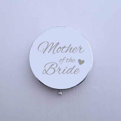 Laser Engraved Personalized Pocket Mirror, Silver Metal Compact, Magnified, Mother of the Bride Gift, LGC10249