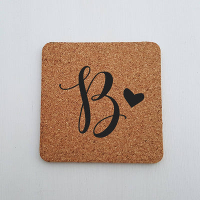 Laser Engraved Custom Cork Coaster, Initial with Cute Heart, Laser-, Personalized Wedding Gift, Housewarming Present, LGC10267