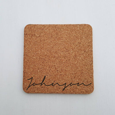 Laser Engraved Single Custom Cork Coaster, Last Name, Laser-, Personalized Wedding Gift, Housewarming Present, LGC10268