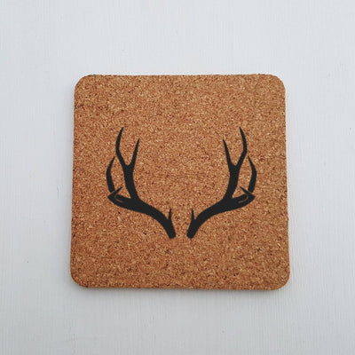 Laser Engraved Antlers Cork Coaster, For Hunter, Square, Laser-, Personalized Wedding Gift, Housewarming Present, LGC10291