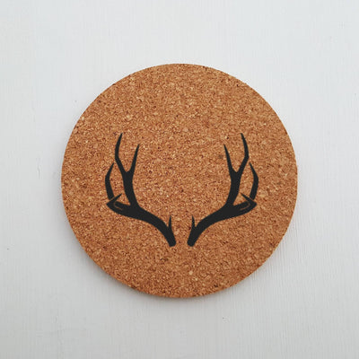 Laser Engraved Antlers Cork Coaster, For Hunter, Laser-, Round, Personalized Wedding Gift, Housewarming Present, LGC10290