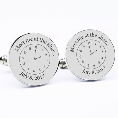Laser Engraved Personalized Cufflinks, Men's, Custom Gift for Him, Meet me at the altar, Time Clock, Wedding Keepsake, LGC10212