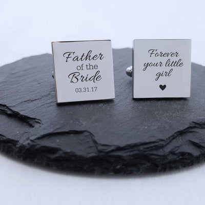 Laser Engraved Personalized Wedding Cufflinks, Mens, Custom  Square Cuff links, Gifts for Him, LGC10184