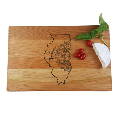 Laser Engraved Personalized Cutting Board, Custom State with Mandala,  Charcuterie Board, LGC10334
