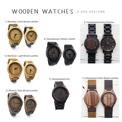 Custom Wooden Watch, Eco-friendly Gifts, Leather Band, For Men, 5th Anniversary Gift for Him, For Her, Wedding Keepsake, For Groom, TBC10051