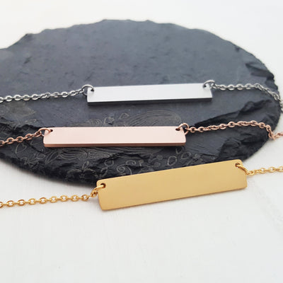Laser Engraved Minimal Personalized Bar Necklace, Mama Bear, Gift for Wife or Friend, Blush, Rose Gold, LXJC100227