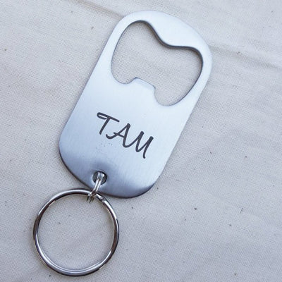 Beer Bottle Opener, Personalized Keychain, Stainless Steel, Custom Gift for Him, Gifts for Her, Monogram or Initials, LGC10171