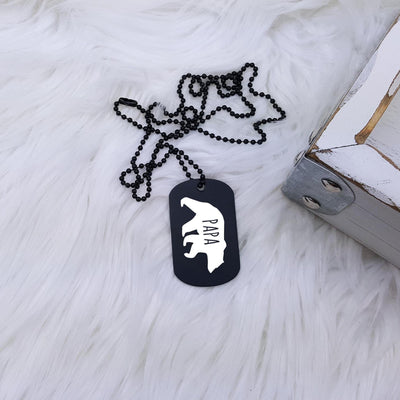 Laser Engraved Mens Dog Tag, Gift For Him, Personalized Necklace, Custom Jewelry for Men, Key Chain, For Dad, Papa Bear, LGC10311